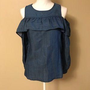 NWT Loft Chambray Cold Shoulder Shirt Size SP